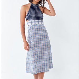 URBAN OUTFITTERS Blue Plaid Midi Dress